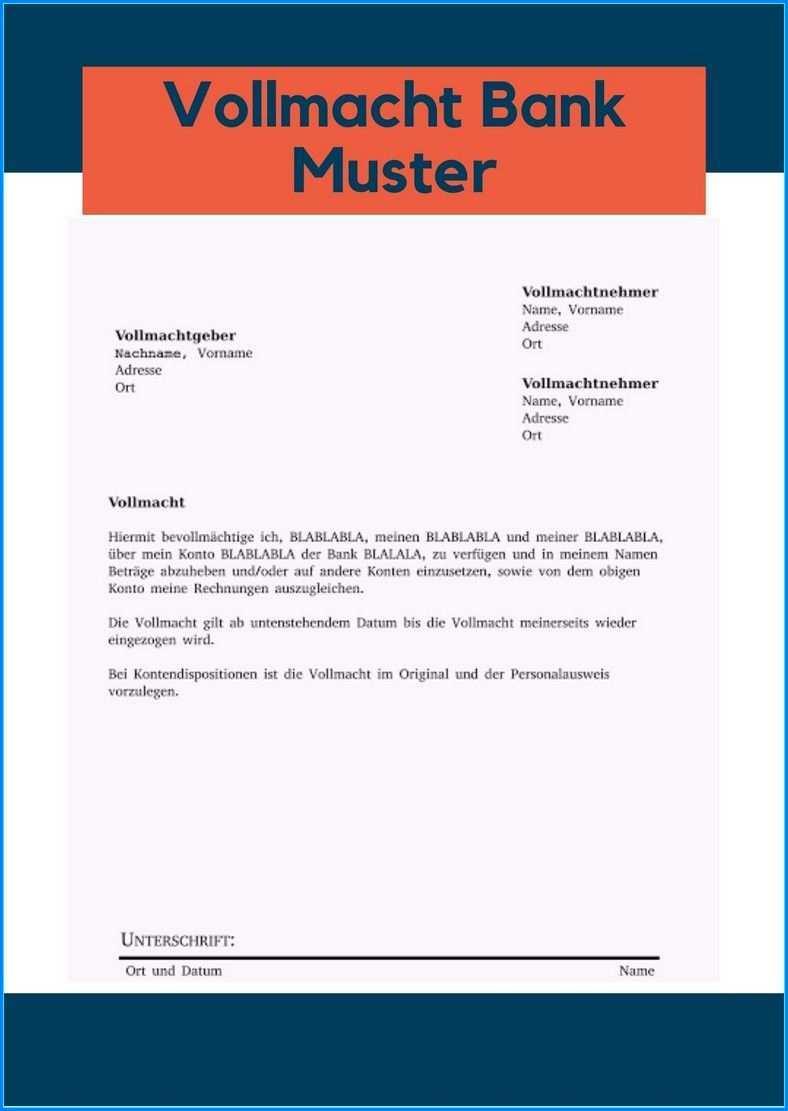 25 Vollmacht Bank Muster Vollstandig Und Aktuell Vollmacht Briefe Schreiben Kontoauszug