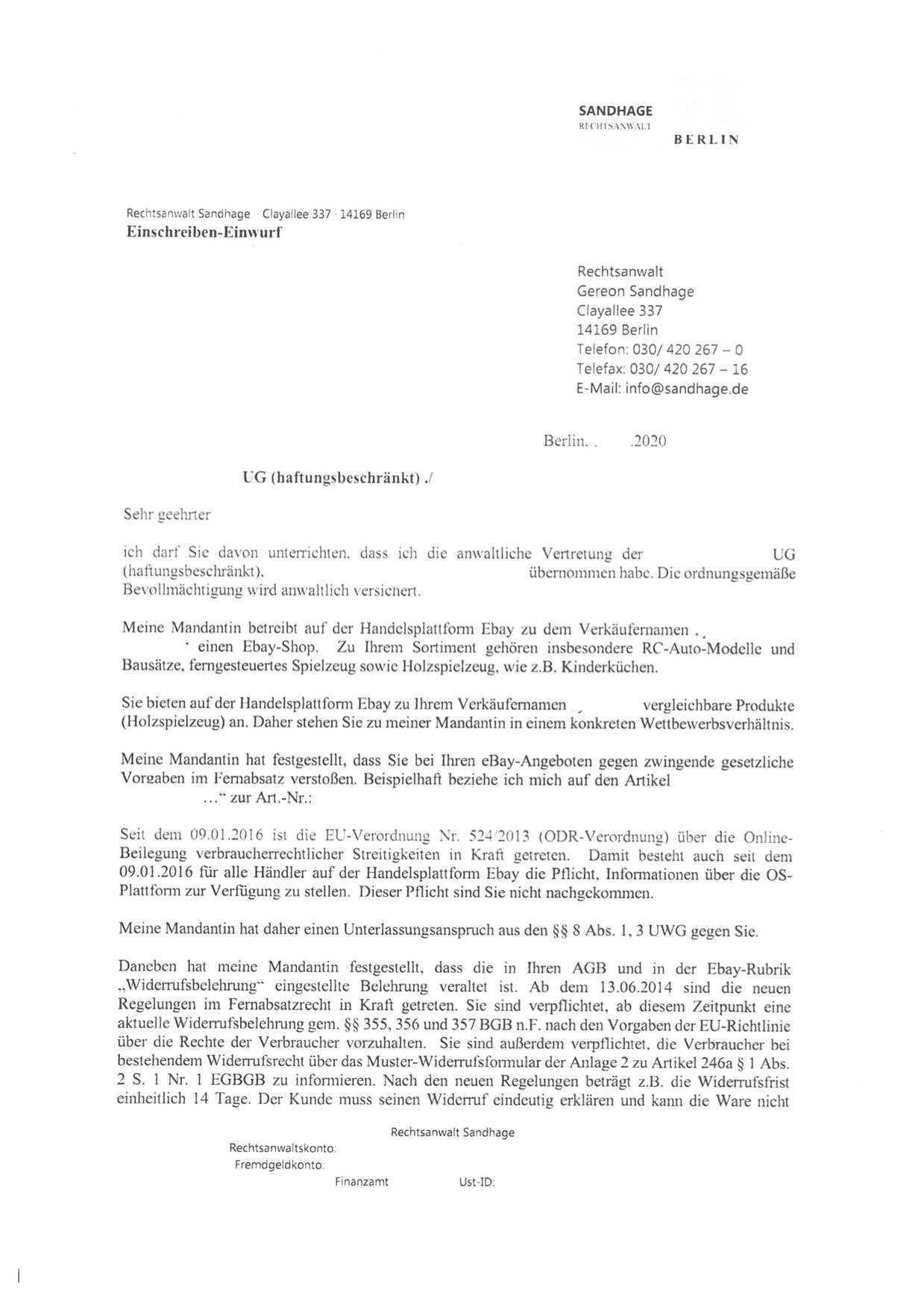 Abmahnung Sandhage Wegen Unterlassung Im Wettbewerbsrecht
