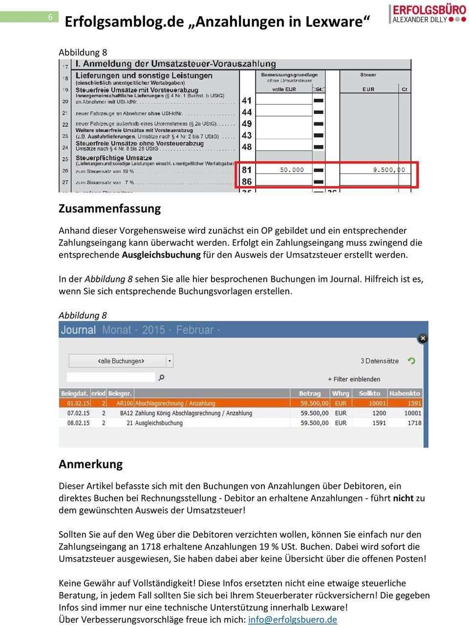 Erfolgsamblog De Anzahlungen In Lexware Pdf Kostenfreier Download