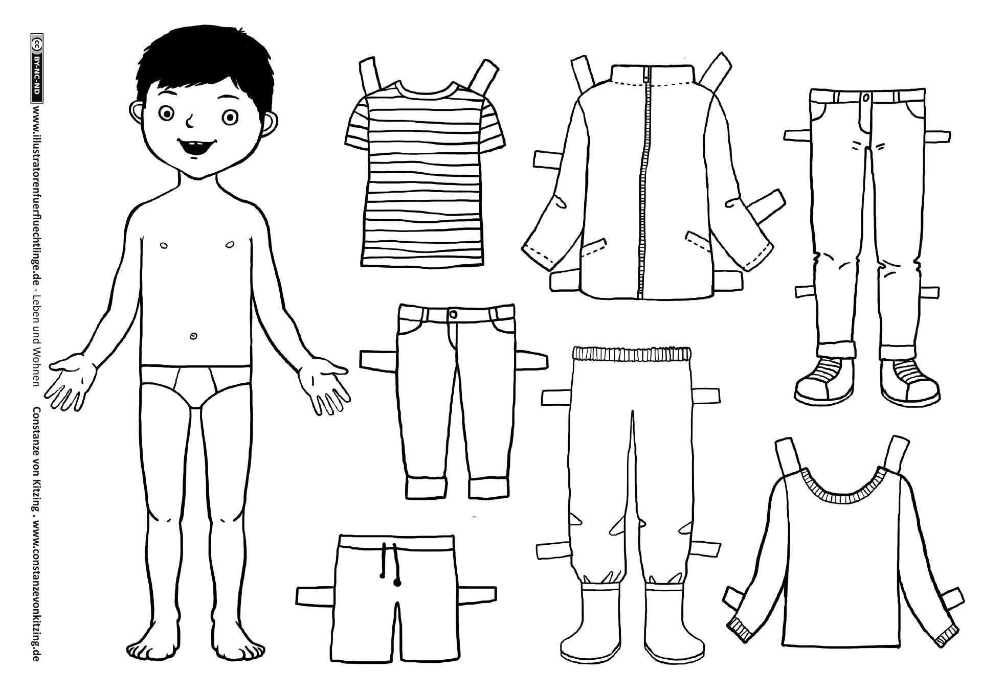 Kleidung Anziehpuppe Junge Papier Kind Anziehen Kleidung