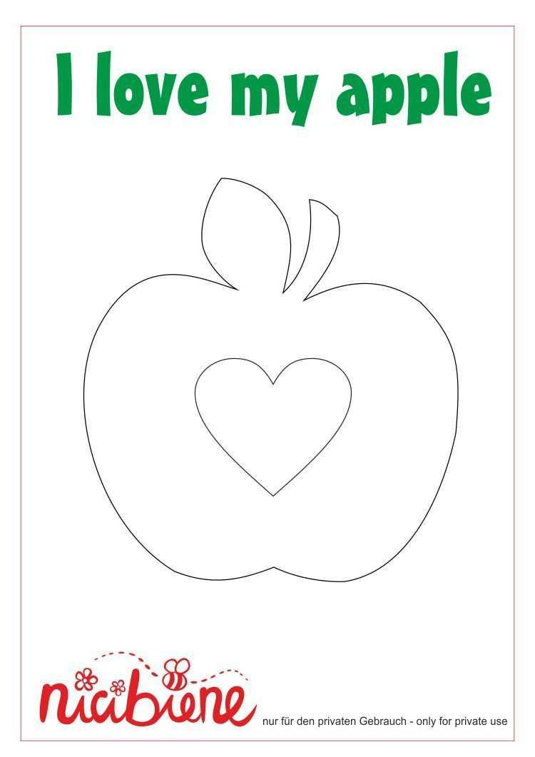 Applikationsvorlage Apfel Mit Herz Applikationsvorlage Applikation Vorlagen Apfel Basteln