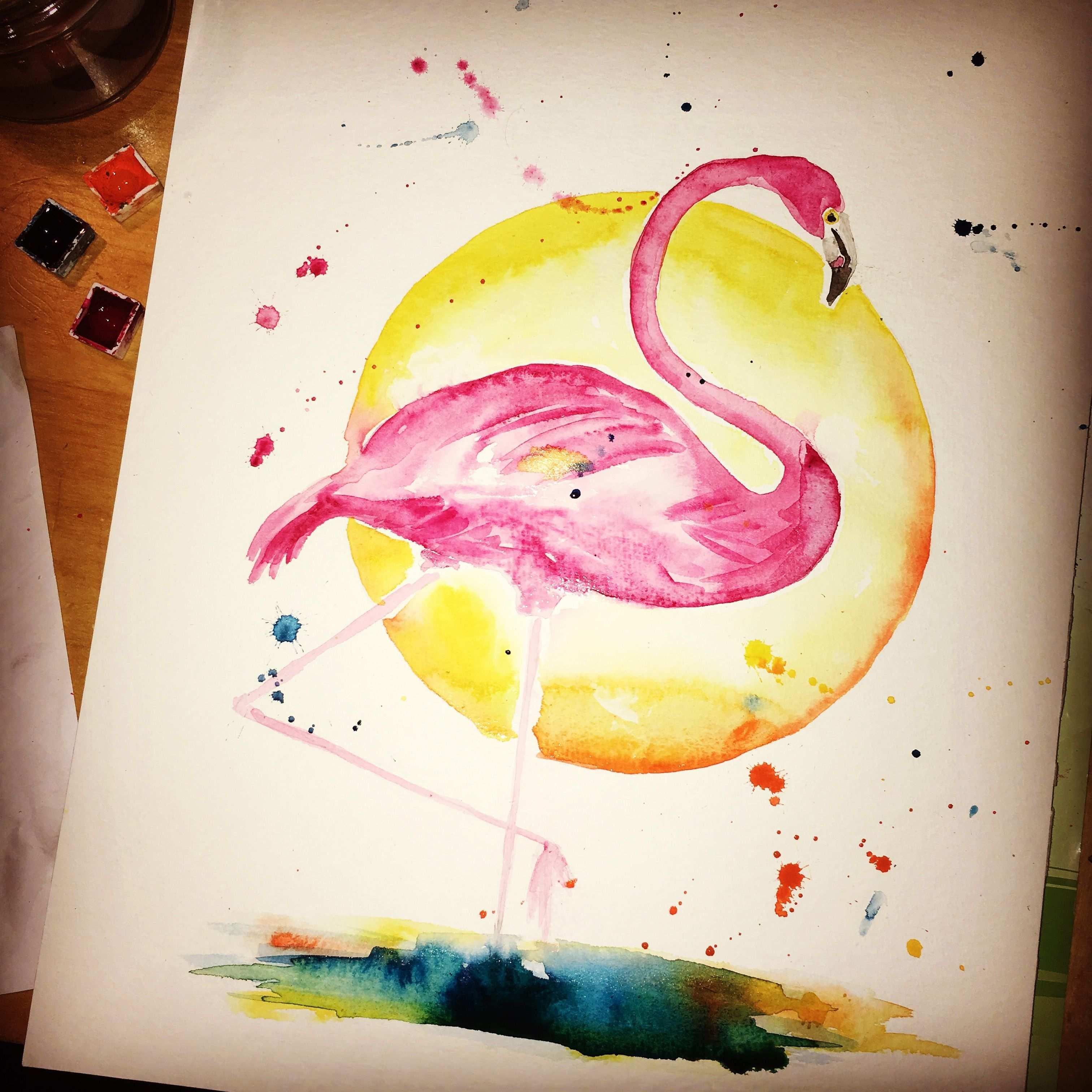 Flamingo Pink Aquarell Bunt Sonne Sonnenuntergang Exotisch Wasserfarbe Acrylbilder Selber Malen Acrylmalerei Malerei