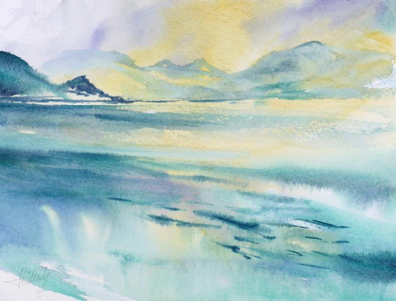 Comer See Aquarell Landschaften Aquarellmalerei Aquarell