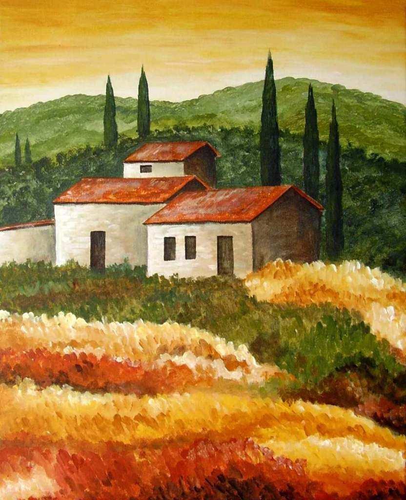 Toskana 4 Landschaften Malen Abstrakt Leinwandmalerei