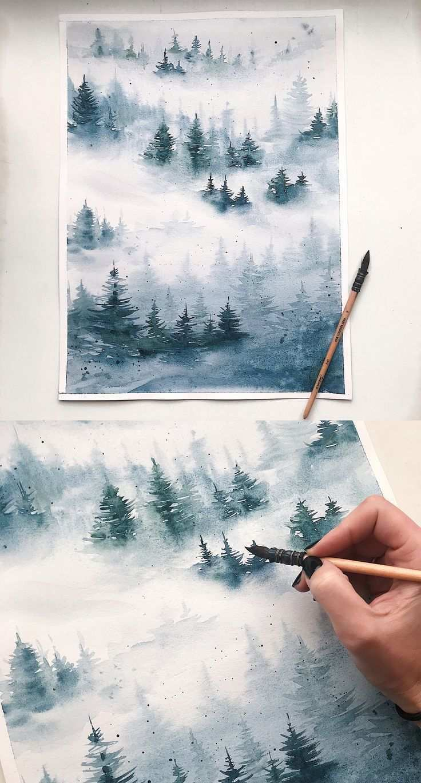 Aquarellmalerei Nebliger Wald Aquarell Aquarell Winter Landschaft Aquarellmalerei Nebliger Wald Aquarell