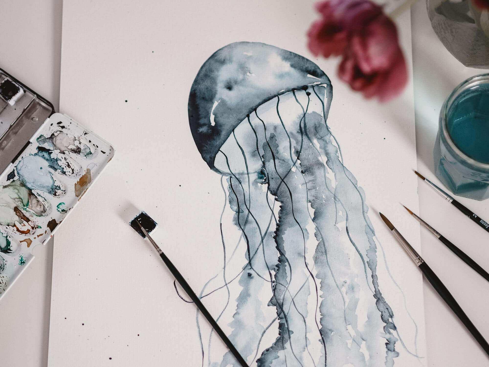 Tutorial Watercolor Jellyfish Aquarell Qualle Malen Fur Anfanger Jolimanoli