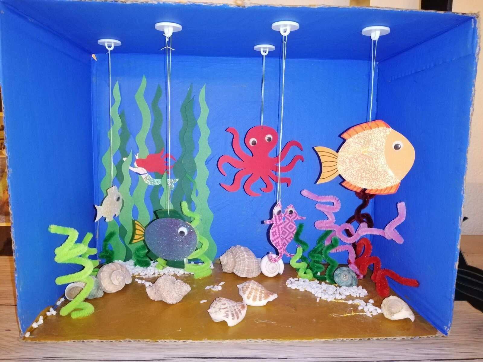 Mein Aquarium Mobile Basteln Mit Kindern Fische Basteln Sommerliche Bastelarbeiten