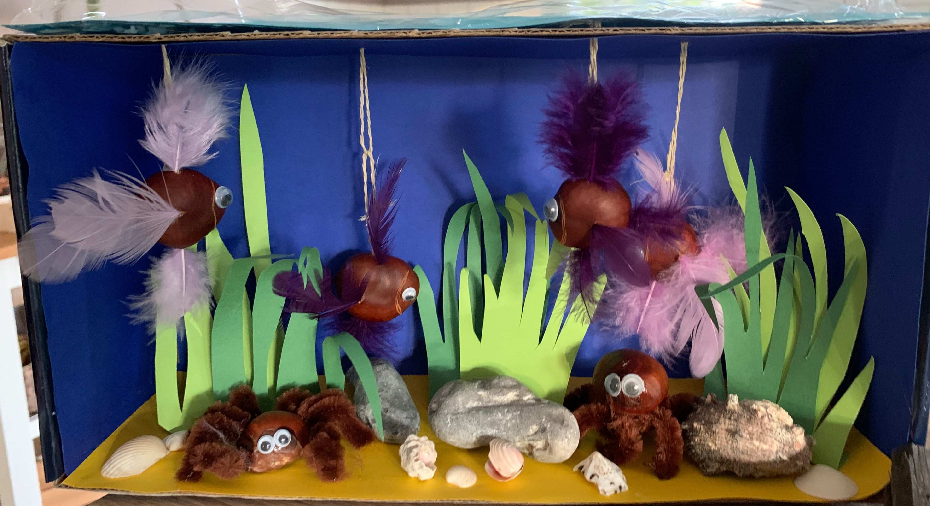 Kastanien Aquarium Schuhkarton Kastanien Basteln Basteln