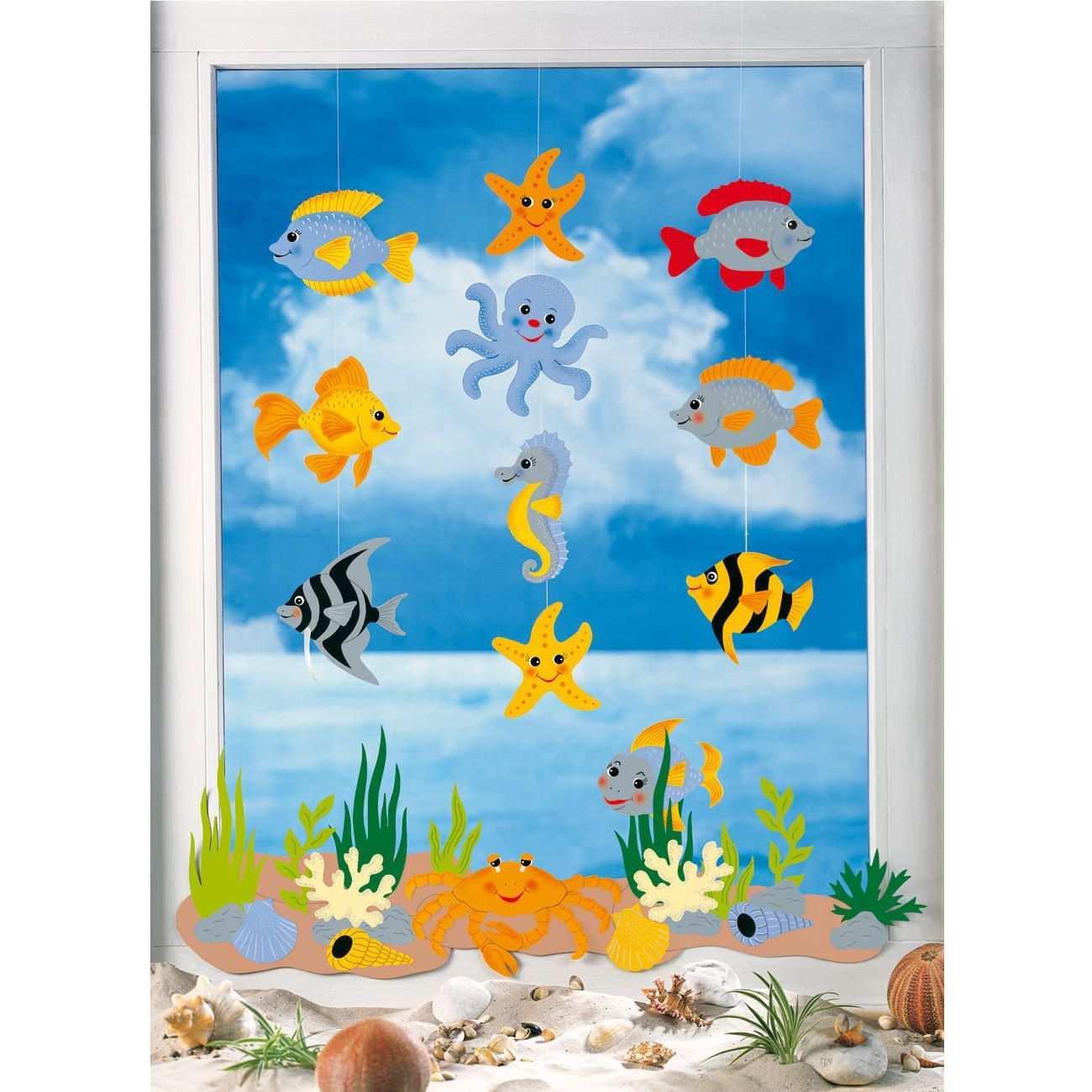 Mobile Meerestiere Mobile Aus Tonpapier Als Komplettpackung Viel Gunstiger Als Einzelmaterialien Komplett Basteln Fensterbilder Basteln Fische Basteln