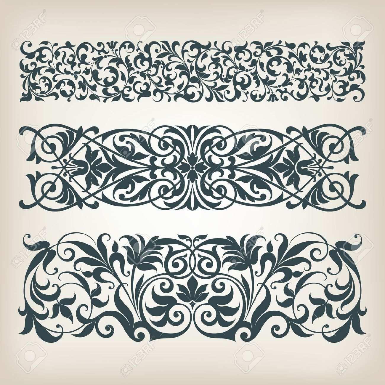 Vektor Set Vintage Verzierten Bordurenrahmen Filigran Mit Retro Muster Im Antiken Barocken Stil Arabische Kalligr Ornamente Vorlagen Barock Muster Retro Muster
