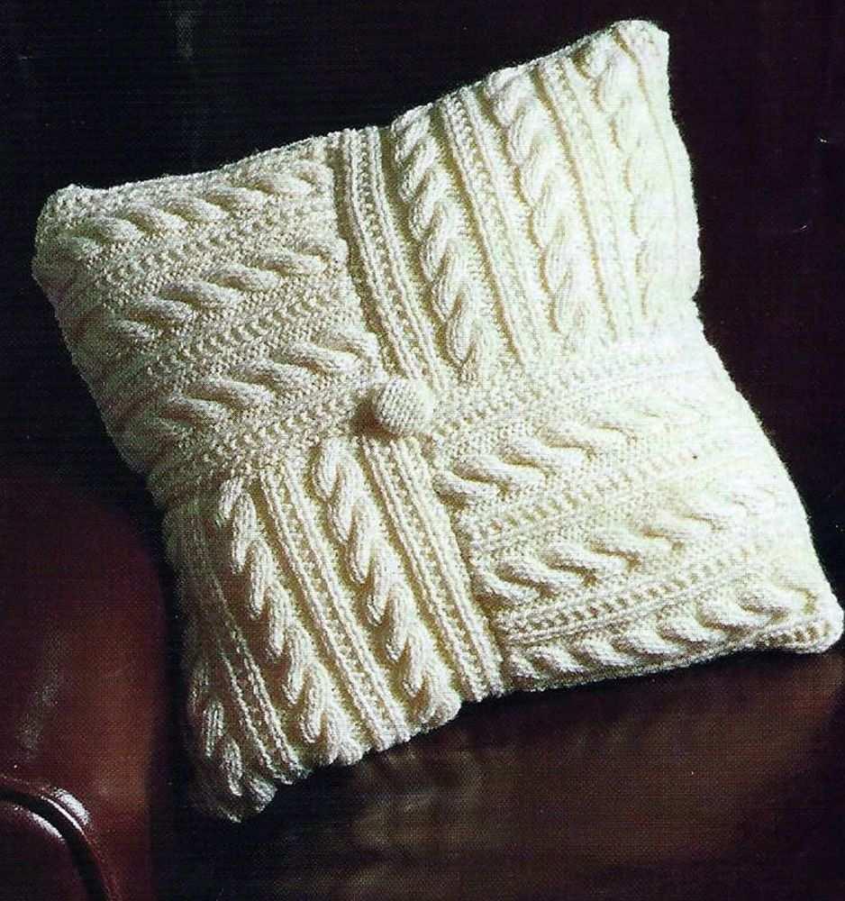 Pretty Aran Cushion Cover Pattern Easy Make From 8 Squares 418 Cushion Cover Pattern Knitted Cushions Knitted Cushion Covers