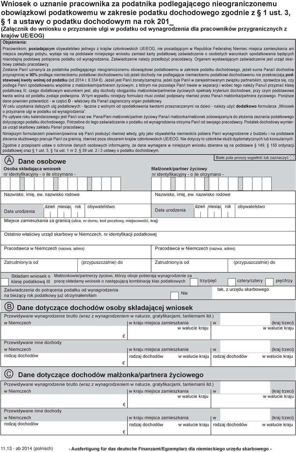 Antrag Auf Behandlung Als Unbeschrankt Einkommensteuer Pdf Kostenfreier Download