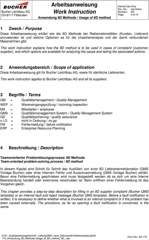 Arbeitsanweisung Work Instruction Pdf Free Download