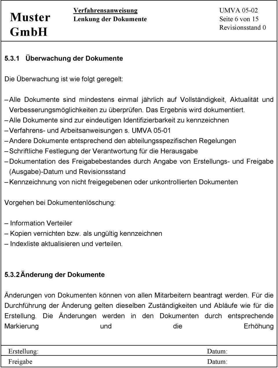 Muster Gmbh Verfahrensanweisung Umva Lenkung Der Dokumente Seite 1 Von 15 Revisionsstand 0 Inhaltsverzeichnis Pdf Free Download
