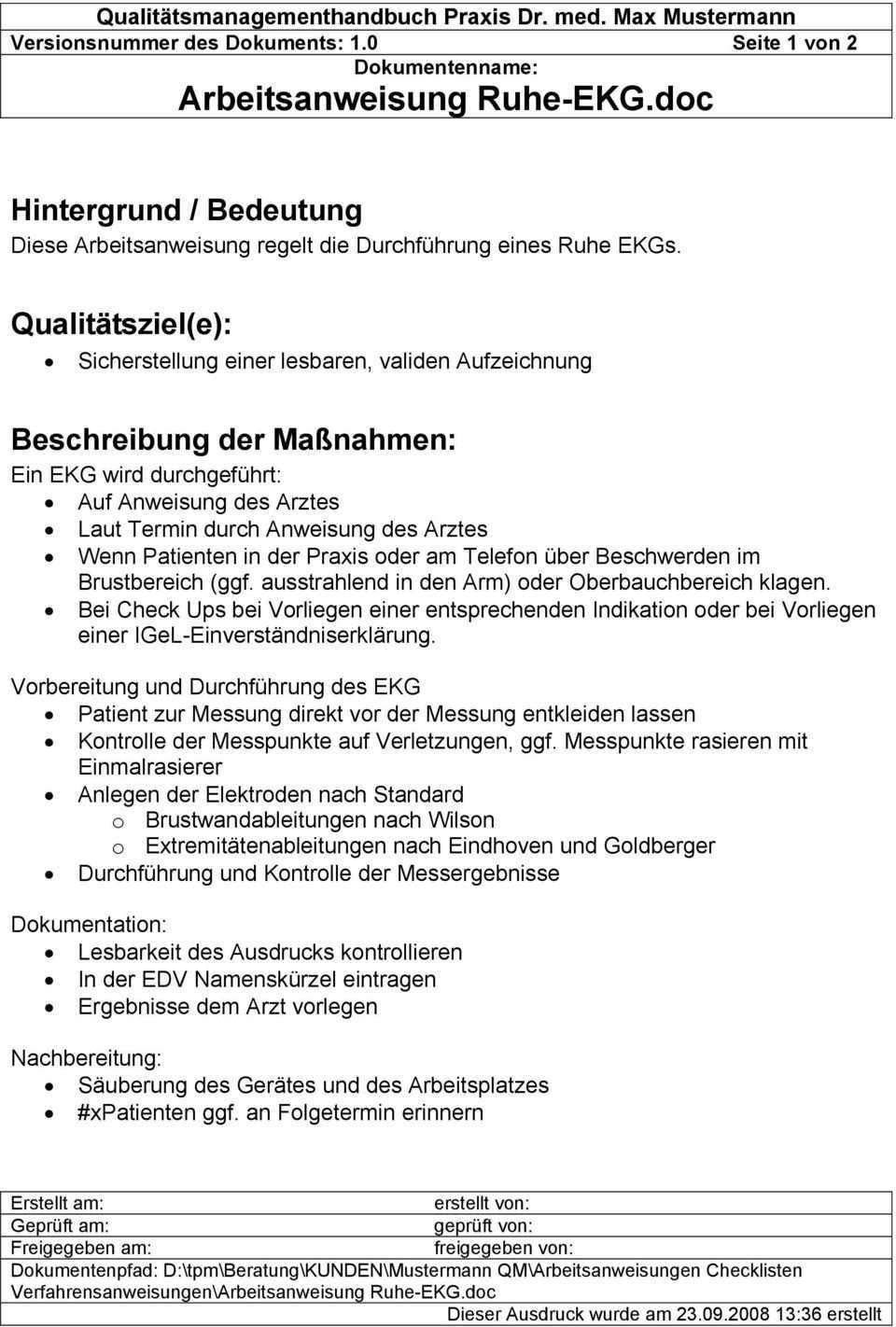 1 2 3 Qm Auszuge Aus Den Dokumenten Des Qm Systems Qm Nach Din En Iso 9001 Pdf Kostenfreier Download