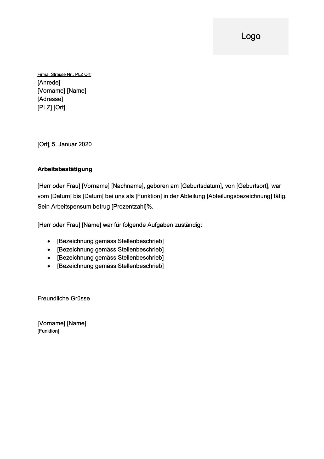 Arbeitsbestatigung Vorlage Kostenlose Word Vorlage Vorla Ch