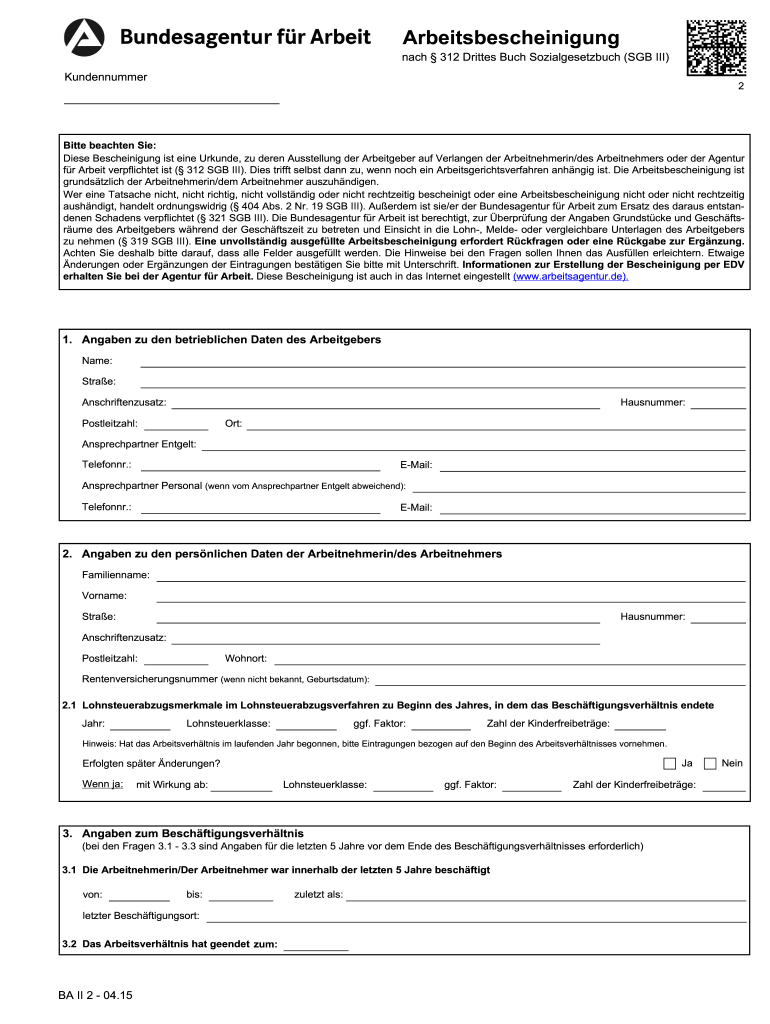Arbeitsbescheinigung Pdf Fill Out And Sign Printable Pdf Template Signnow