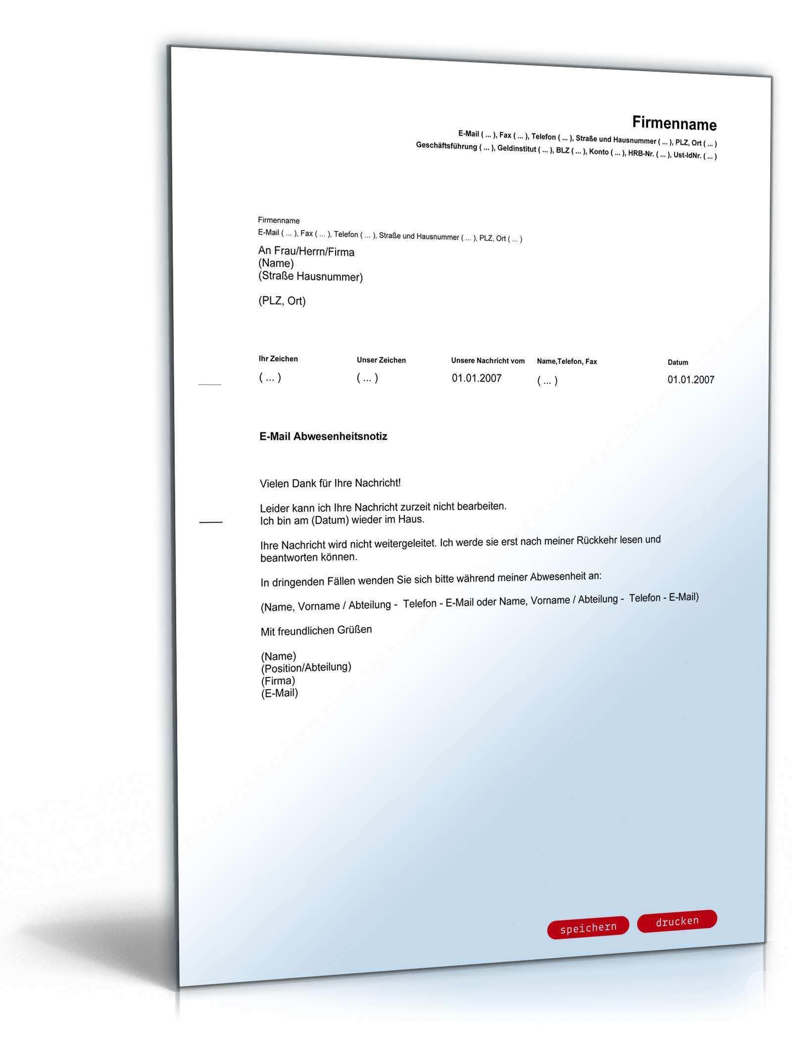 E Mail Absence Notice Englisch Deutsch Vorlage Zum Download