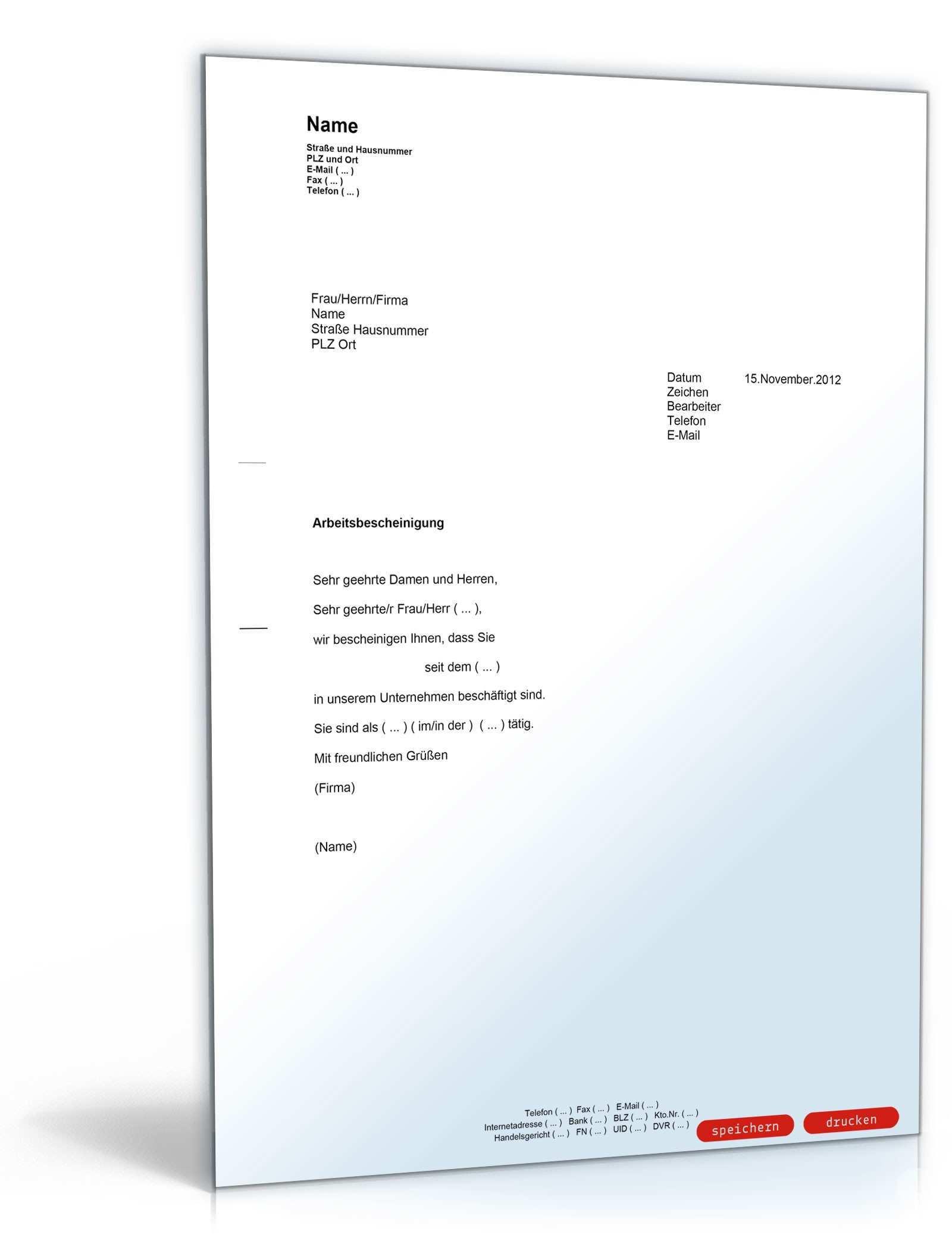 Arbeitsbescheinigung Muster Vorlage Zum Download