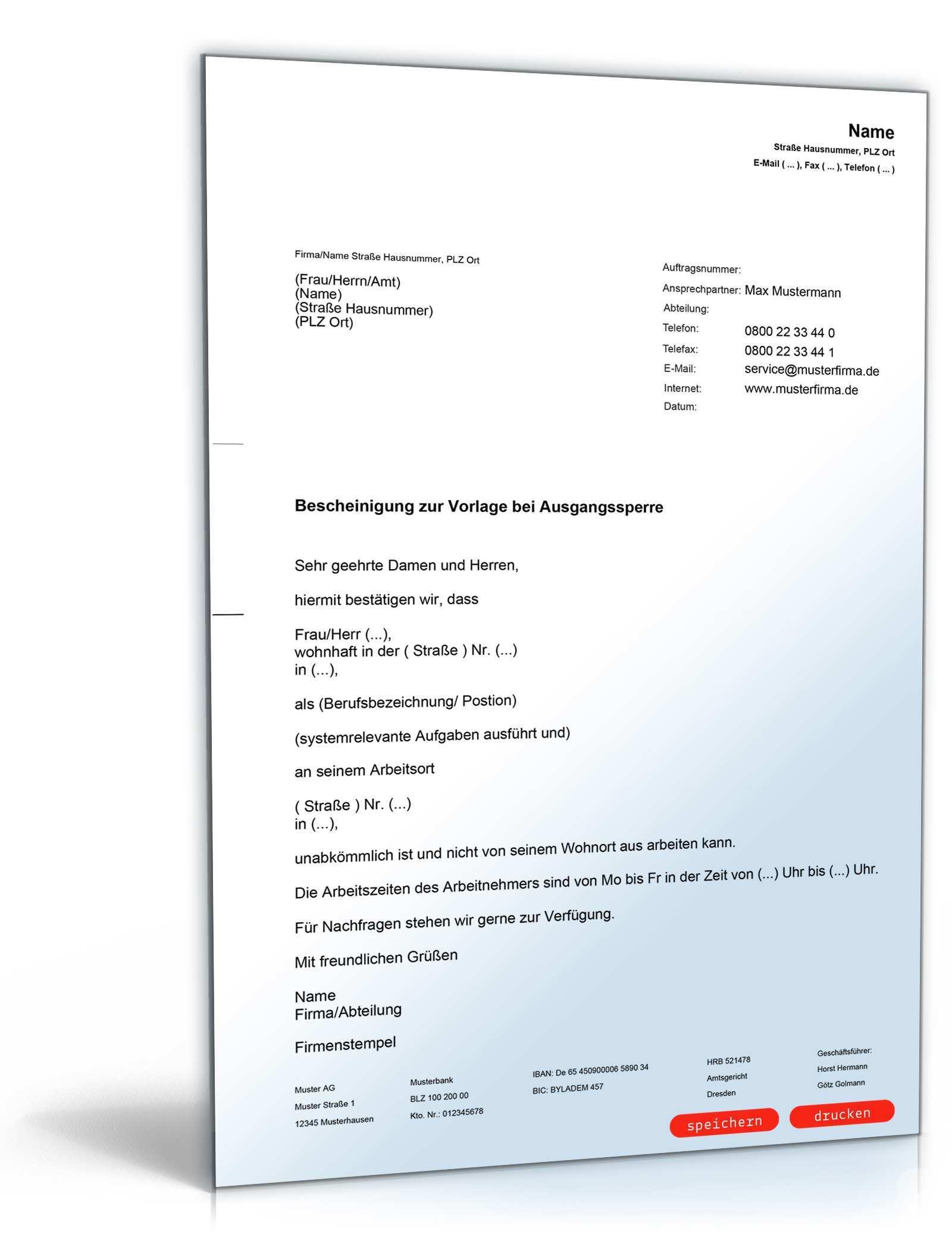 Arbeitgeberbescheinigung Ausgangssperre Muster Zum Download