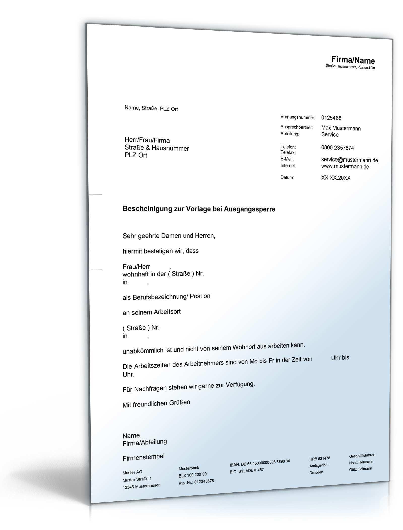 Arbeitgeberbescheinigung Bei Ausgangssperre De Musterbrief Download