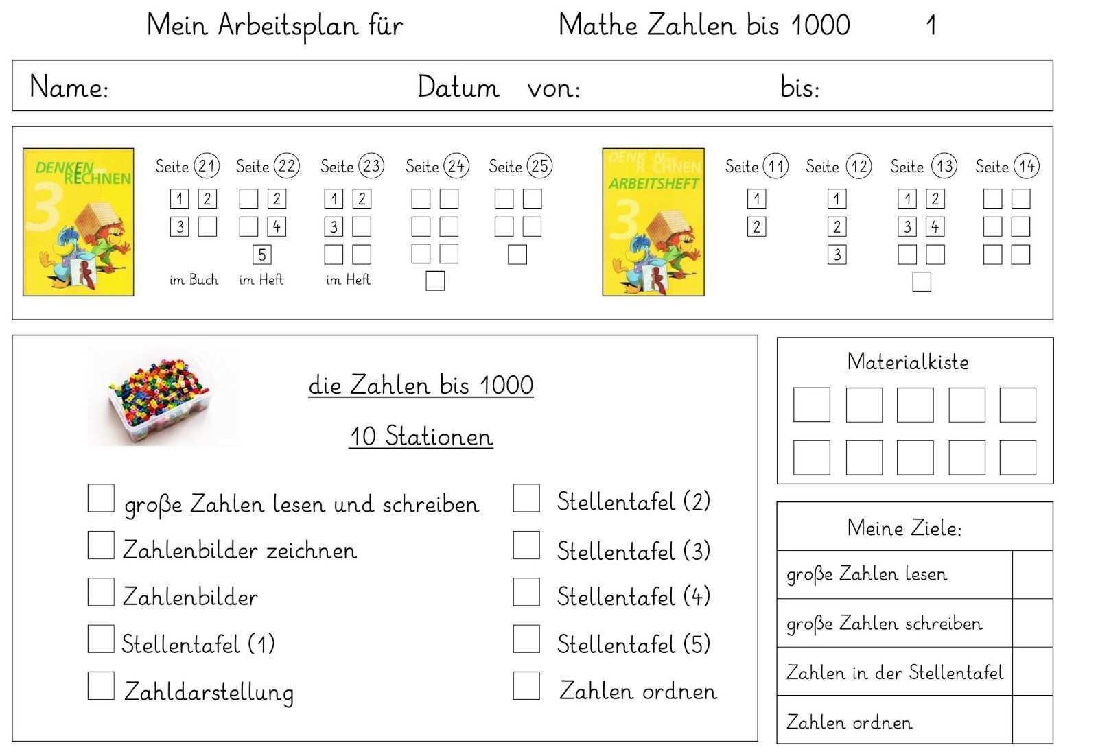 Arbeitsplan Mathe Arbeitsplaner Mathe Matheunterricht
