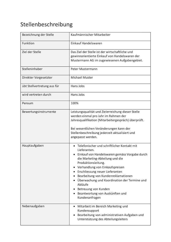 Arbeitsplatzbeschreibung Muster Kostenlos Download