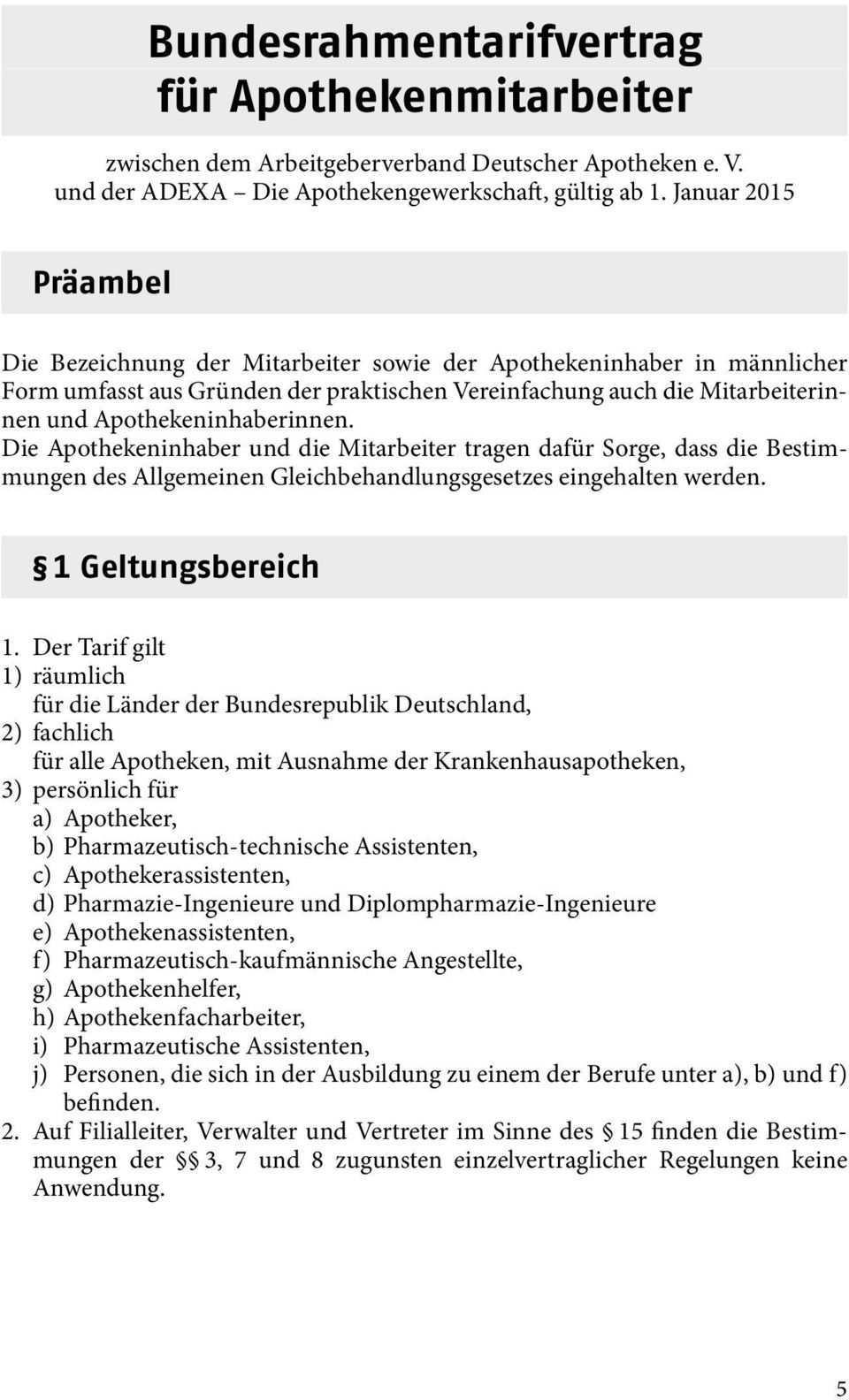 Bundesrahmentarifvertrag Fur Apothekenmitarbeiter Pdf Kostenfreier Download