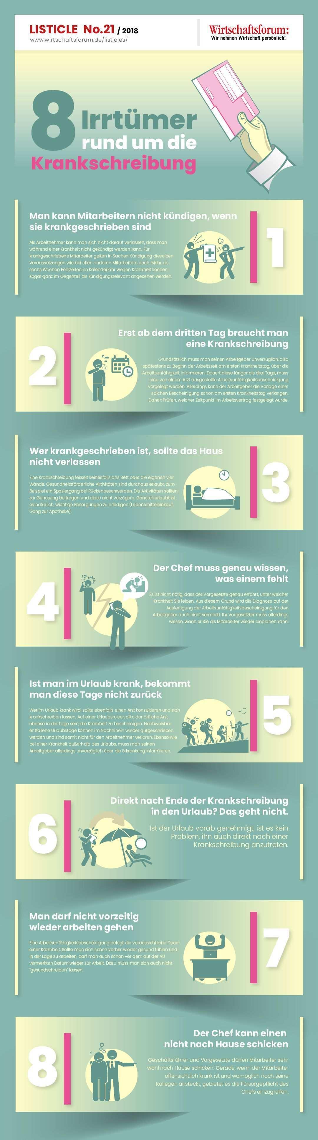 8 Irrtumer Rund Um Die Krankschreibung Krank Bewaltigung Infografik