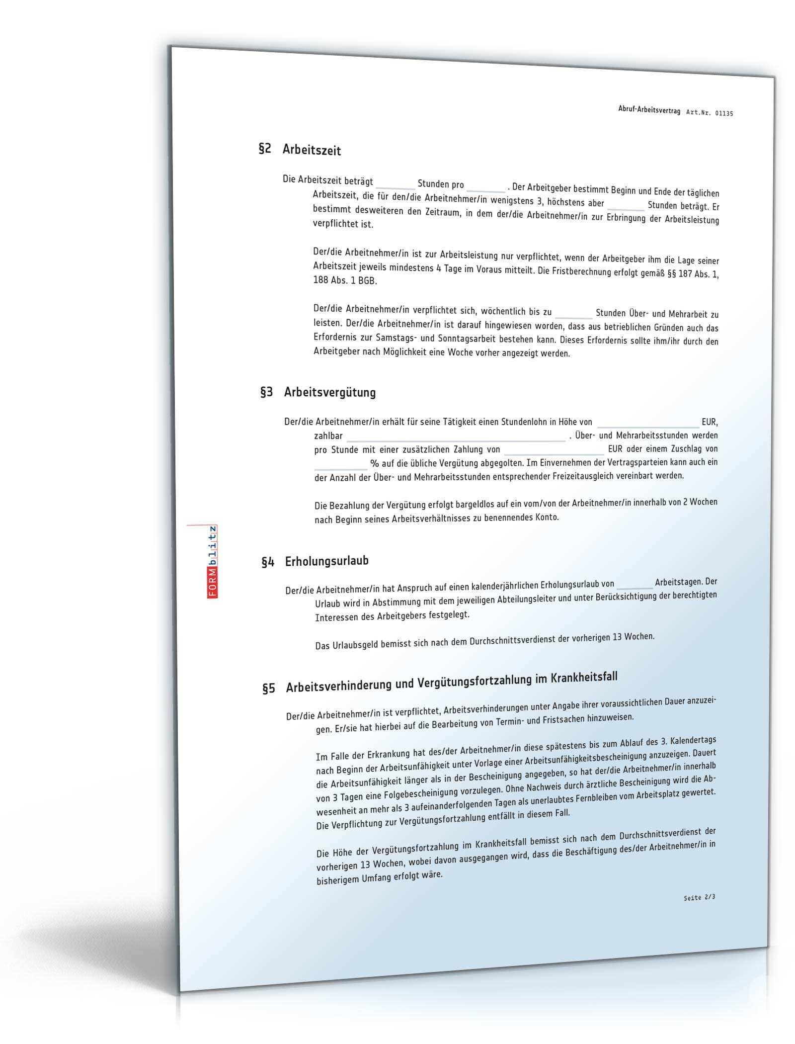 Abruf Arbeitsvertrag Vorlage Zum Download