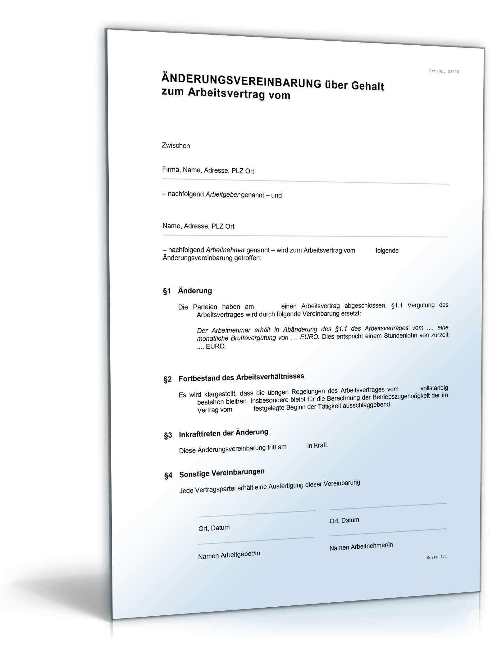 Anderungsvereinbarung Gehalt Muster Zum Download