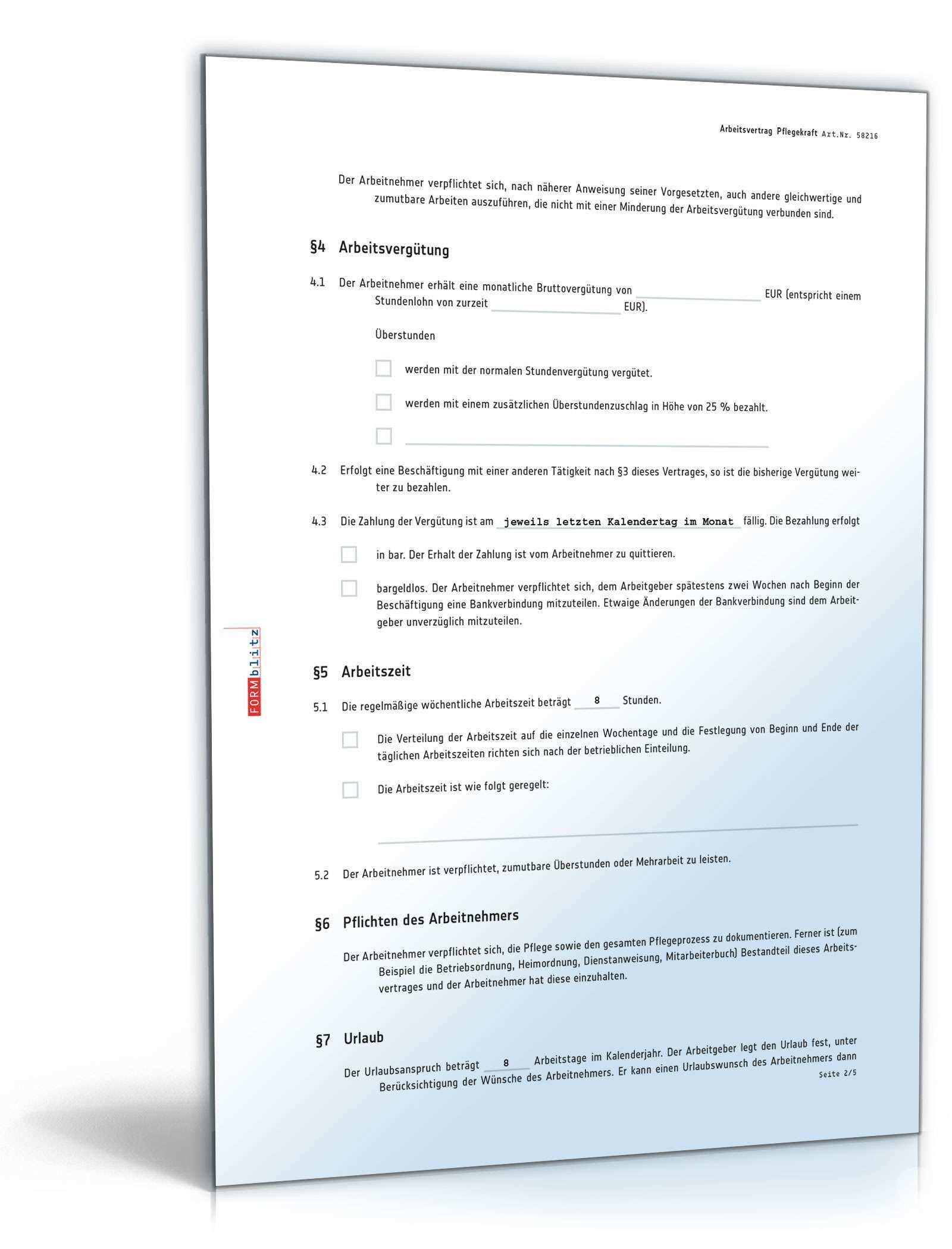 Arbeitsvertrag Fur Pflegekraft Muster Zum Download