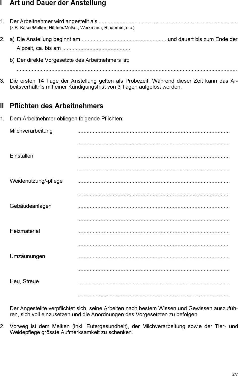 Arbeitsvertrag Und Lohnabrechnung Fur Alppersonal Pdf Kostenfreier Download