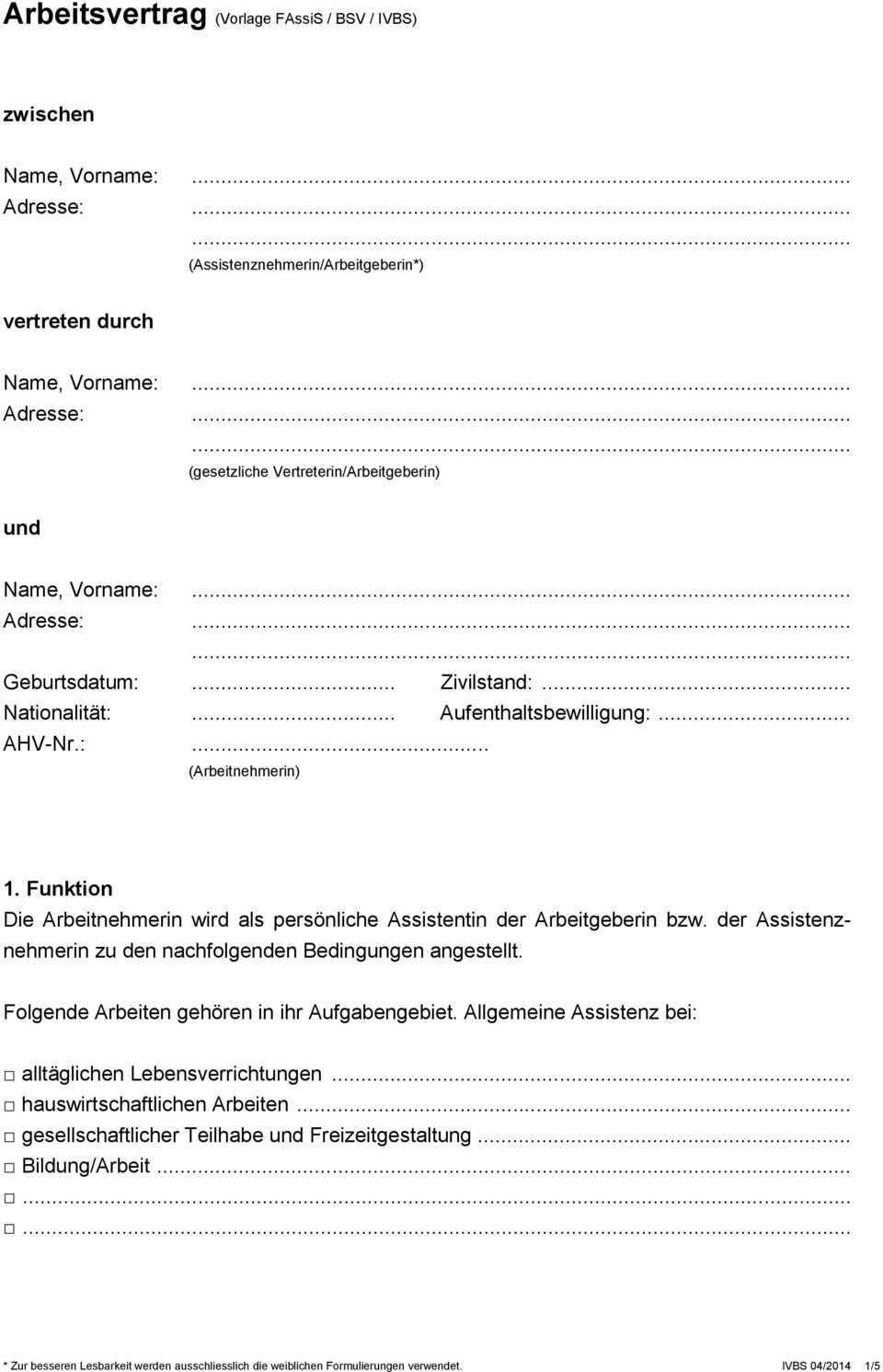 Arbeitsvertrag Vorlage Fassis Bsv Ivbs Pdf Free Download