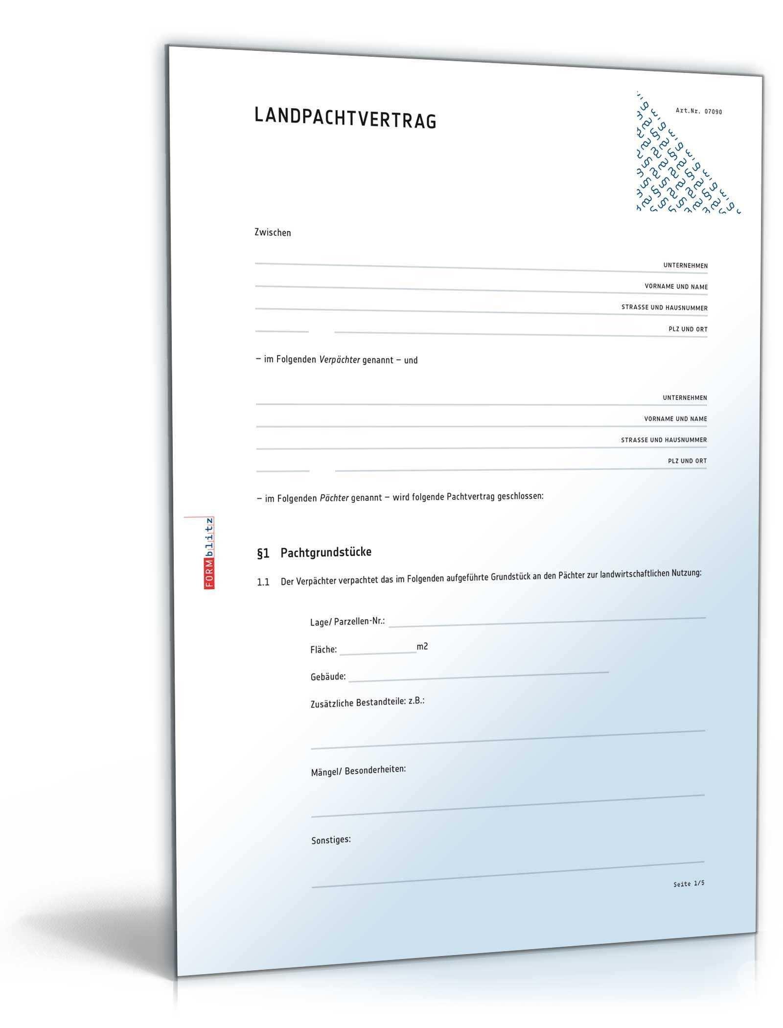 Landpachtvertrag Muster Vorlage Zum Download