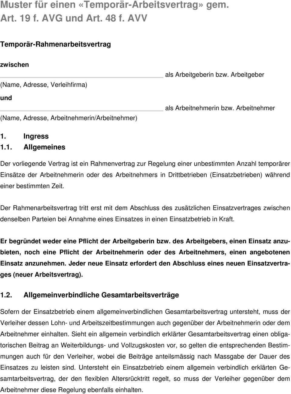 Muster Fur Einen Temporar Arbeitsvertrag Gem Art 19 F Avg Und Art 48 F Avv Pdf Kostenfreier Download