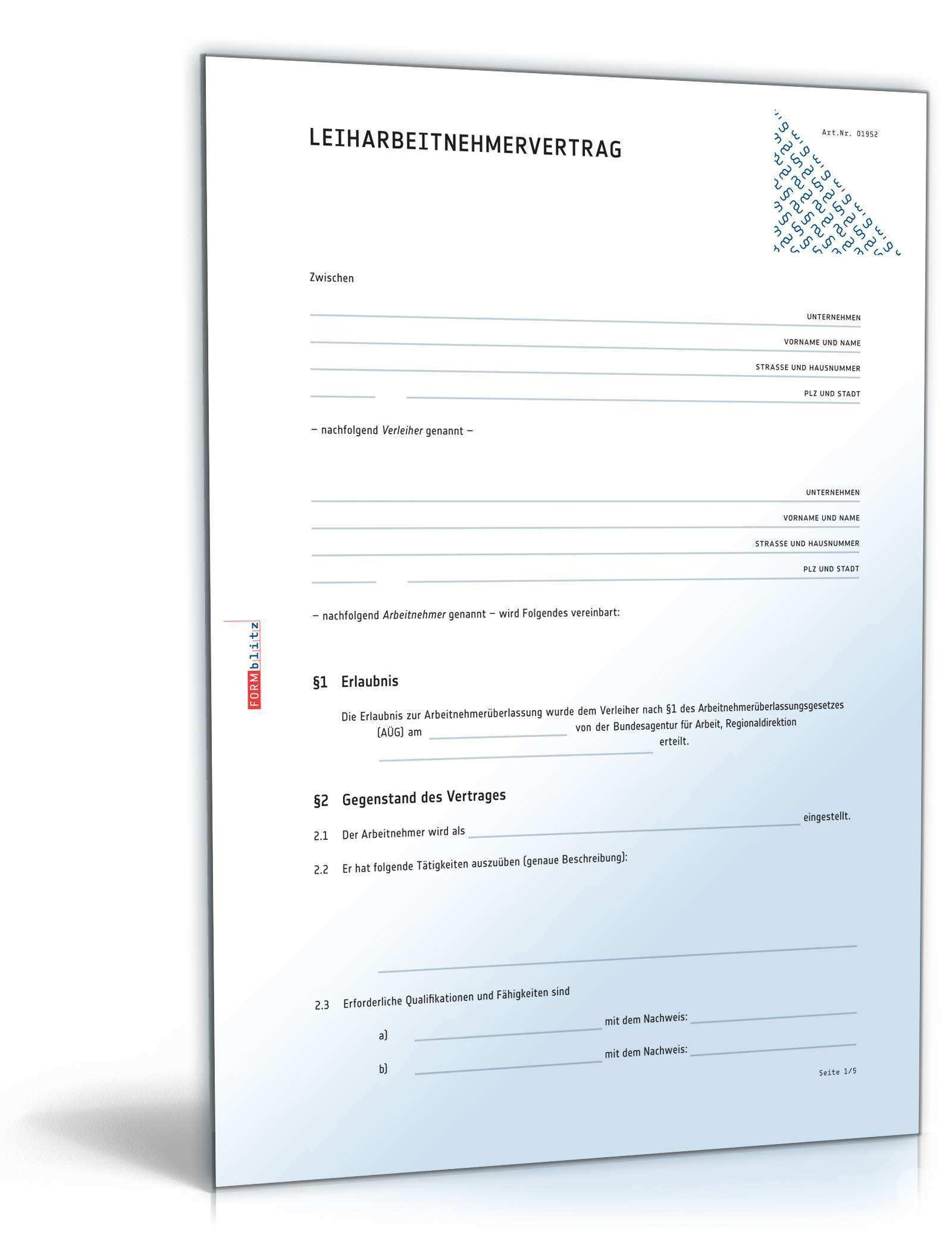 Leiharbeitsvertrag Muster Zum Download