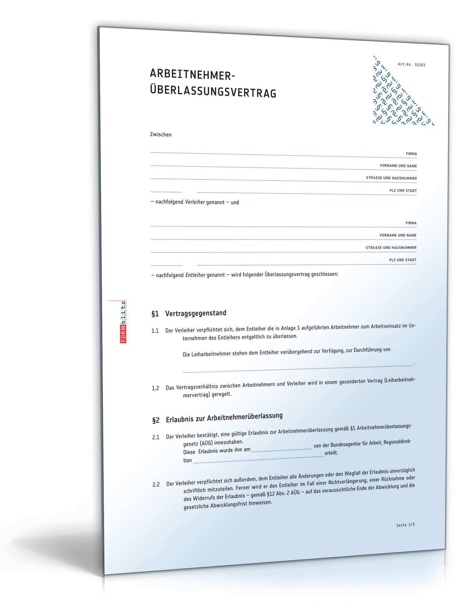 Arbeitnehmeruberlassungsvertrag Muster Zum Download