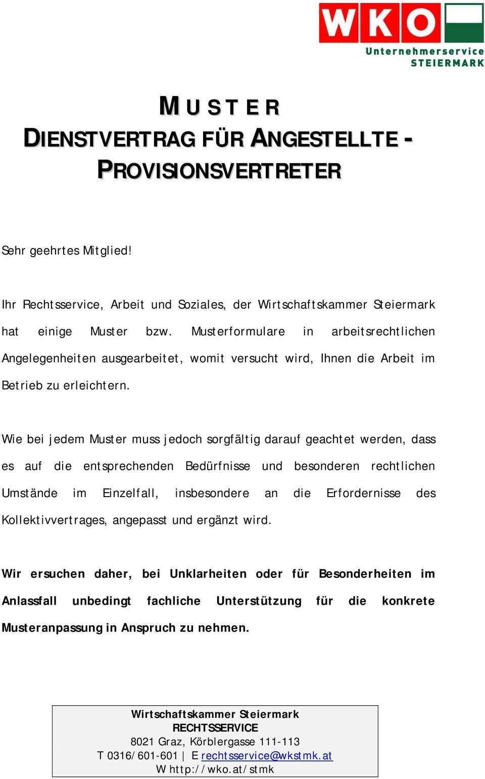 Ihr Rechtsservice Arbeit Und Soziales Der Wirtschaftskammer Steiermark Hat Einige Muster Bzw Musterformulare In Arbeitsrechtlichen Pdf Free Download