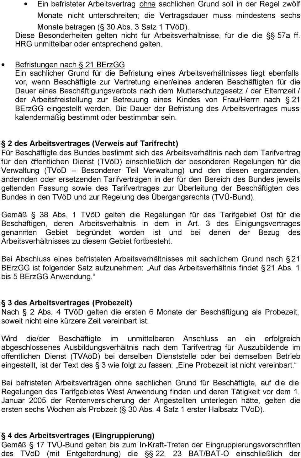 Muster Fur Arbeitsvertrage Mit Beschaftigten Fur Die Der Tvod Gilt Und Die Auf Unbestimmte Zeit Eingestellt Werden Pdf Kostenfreier Download
