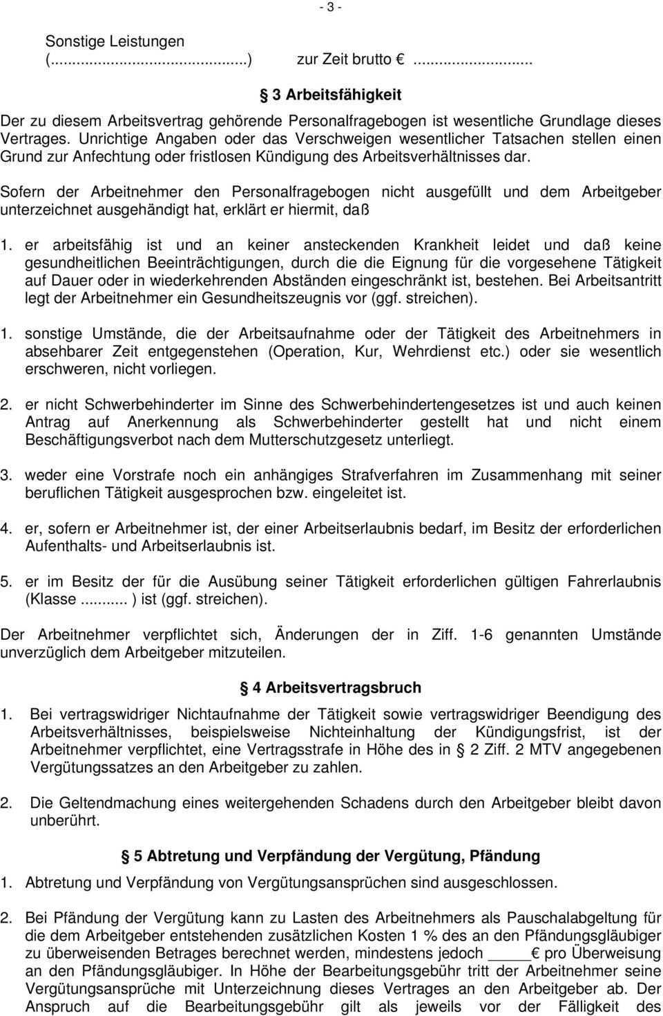 Arbeitsvertrag Fur Arbeitnehmer Im Bayerischen Backerhandwerk Pdf Kostenfreier Download