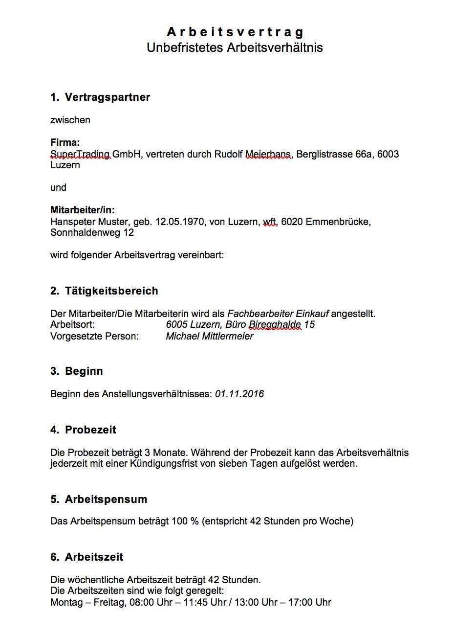 Arbeitsvertrag Muster Schweiz Kostenlos Muster Vorlage Ch