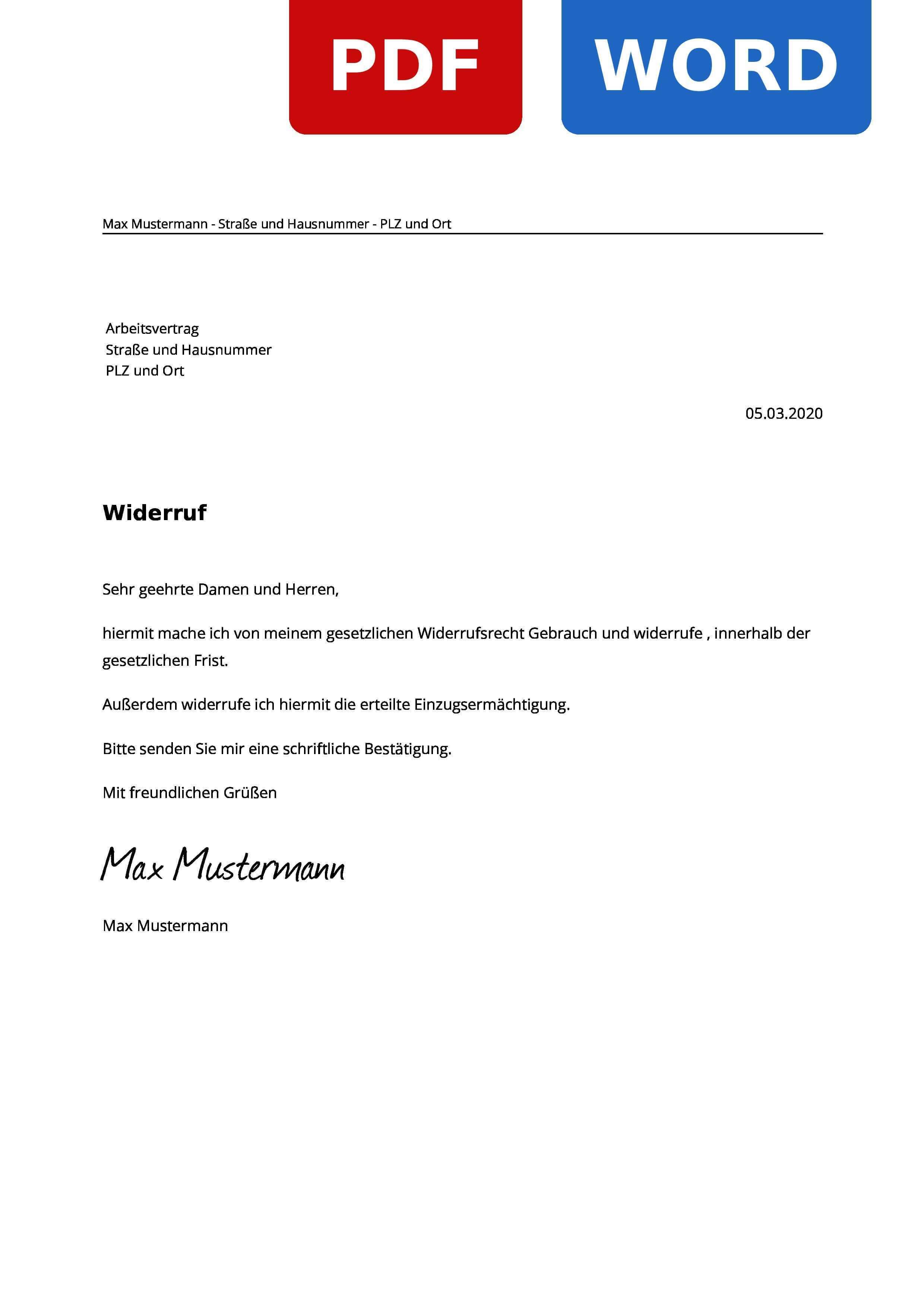 Arbeitsvertrag Widerruf Widerrufsrecht Widerrufsfrist Widerrufsformular