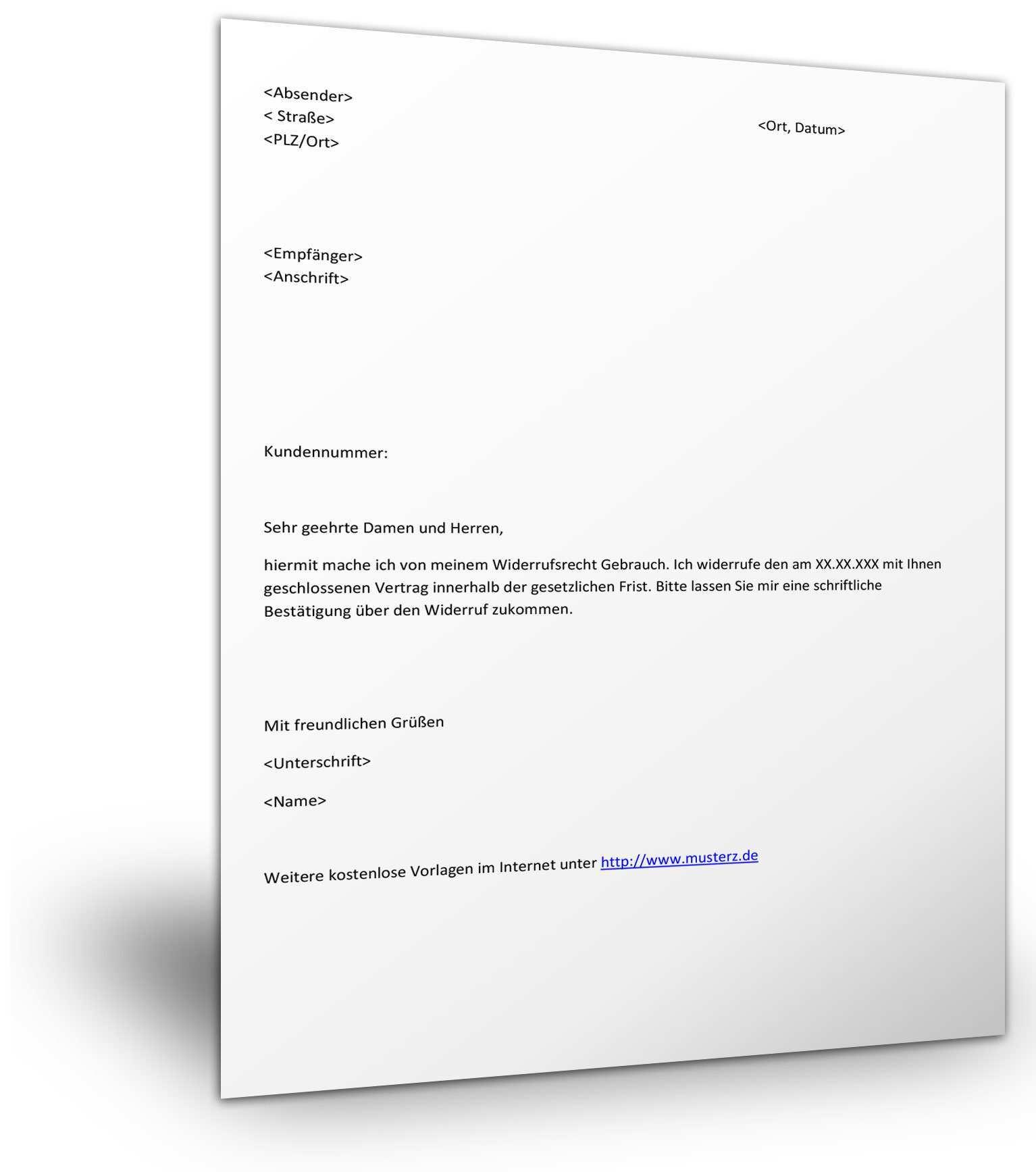 Widerruf Vertrag Muster Kostenloses Word Dokument