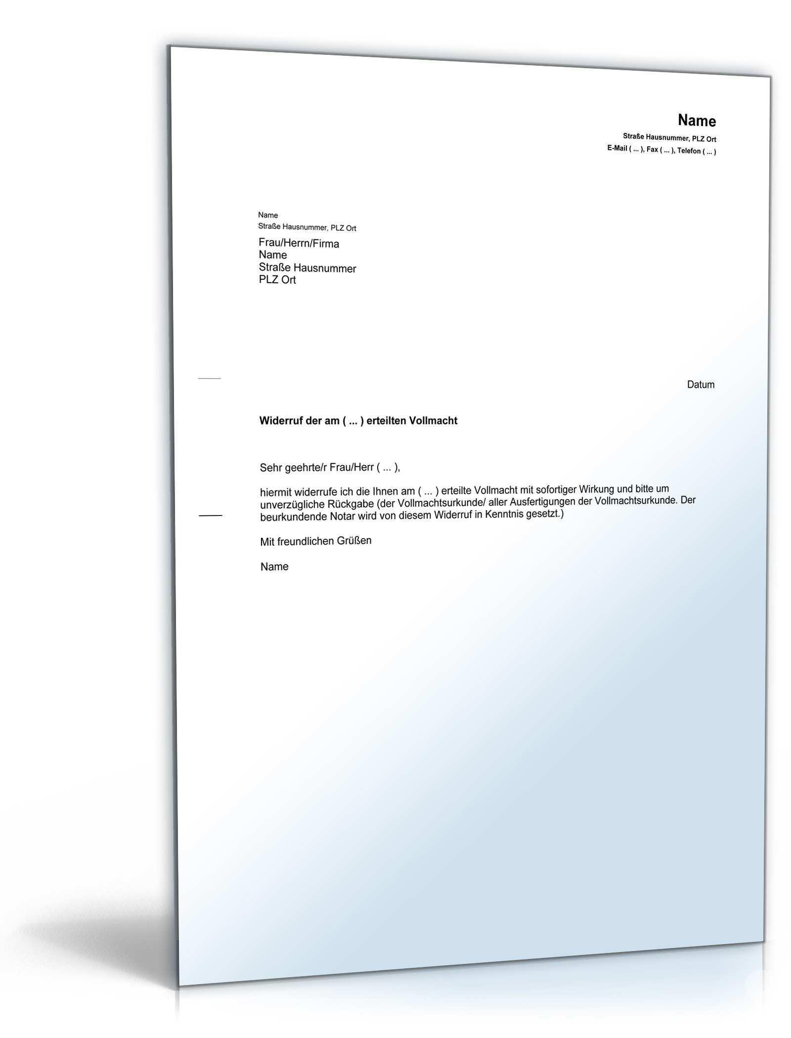 Arbeitsvertrag Widerrufen Muster