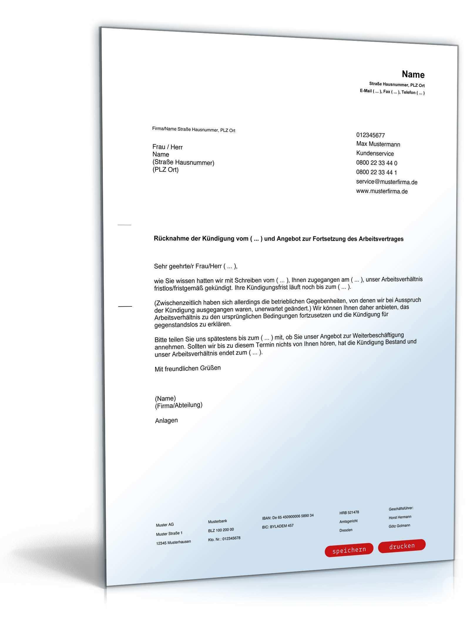 Rucknahme Kundigung Arbeitsvertrag Muster Zum Download