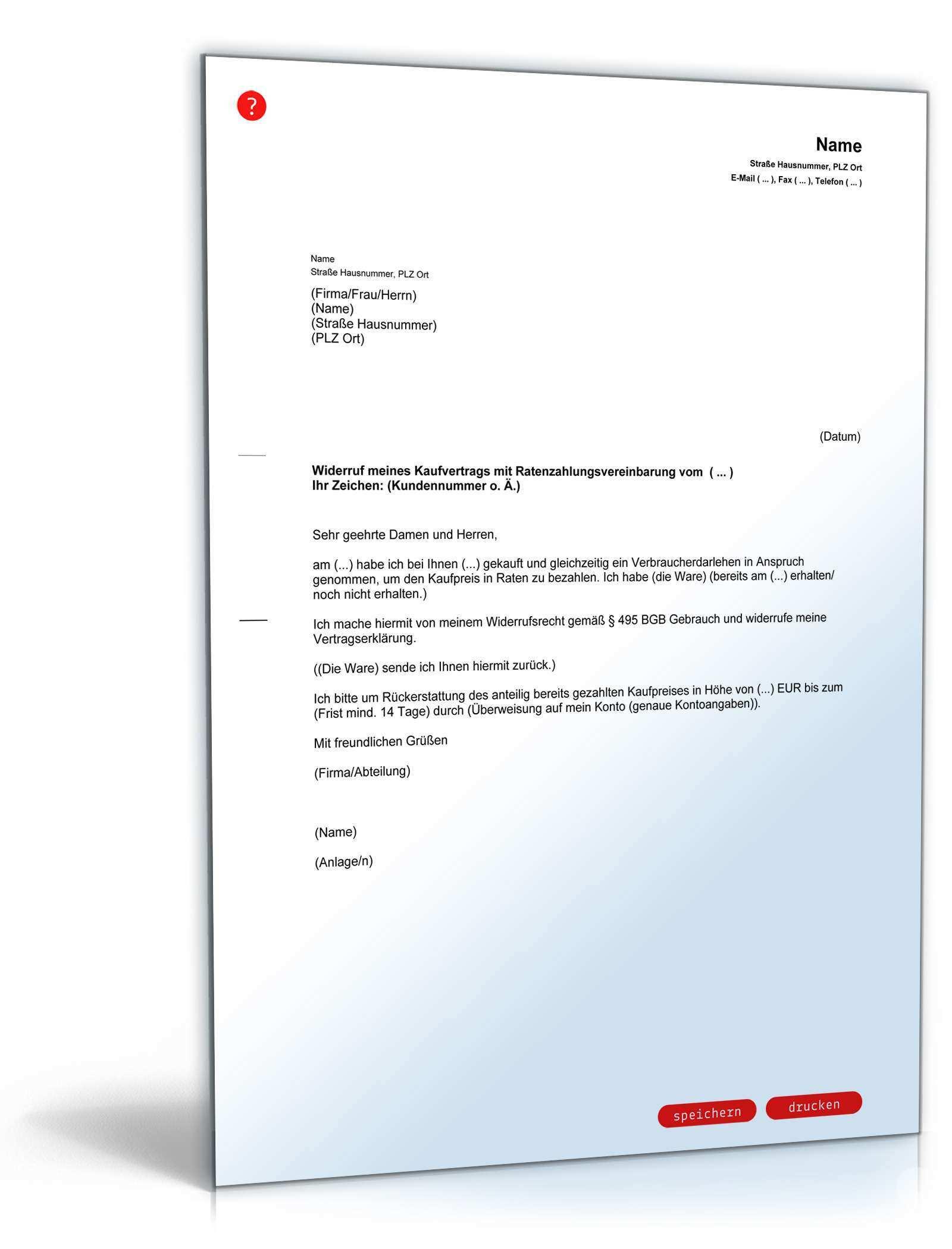 Widerruf Kaufvertrag Mit Ratenzahlungsvereinbarung Muster Zum Download