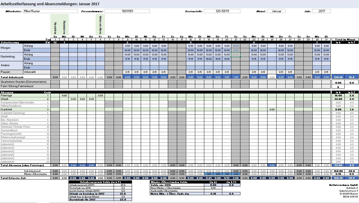 Excel Arbeitszeiterfassung Und Absenzerfassung Vorlage Zeiterfassung Arbeit Schulkinder