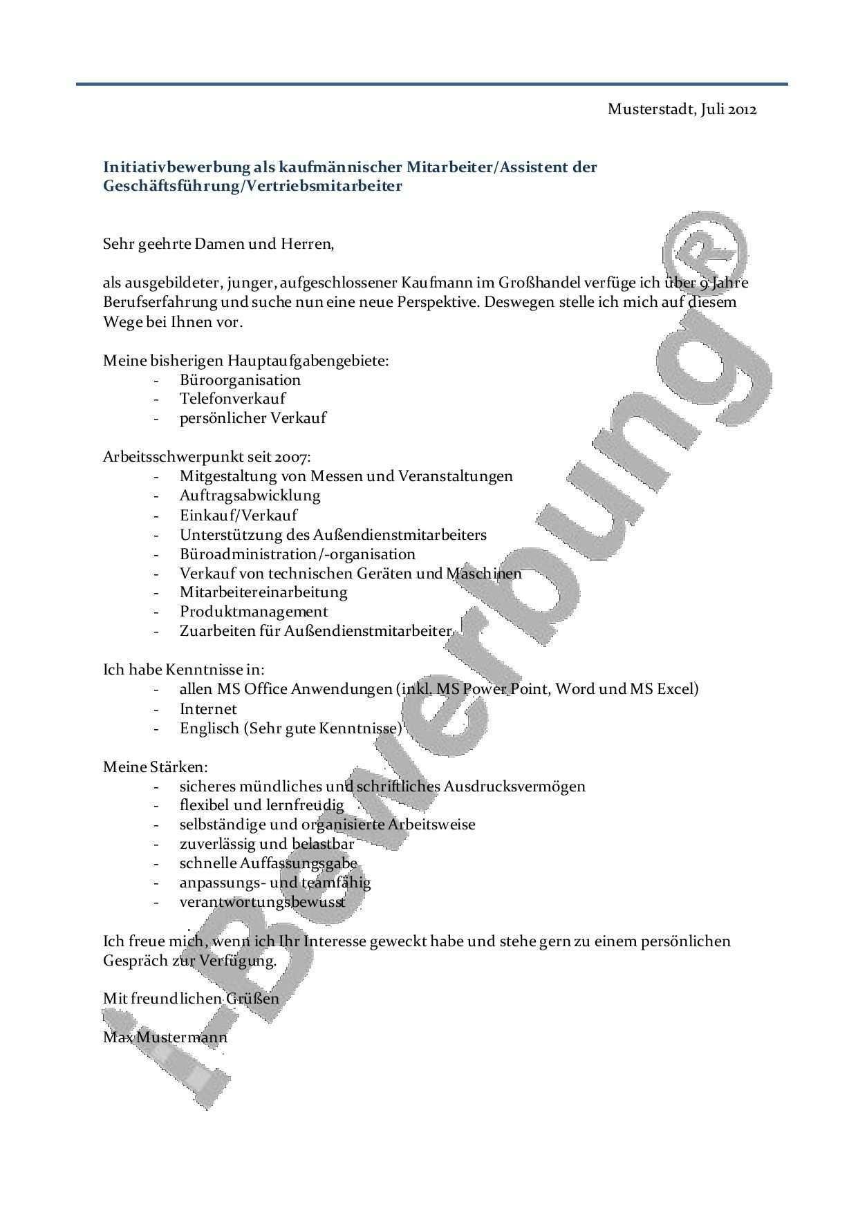 Initiativbewerbung Als Kaufmannischer Angestellter Beispiel Fur Das Anschreiben Bewerbung Schreiben Anschreiben Bewerbung