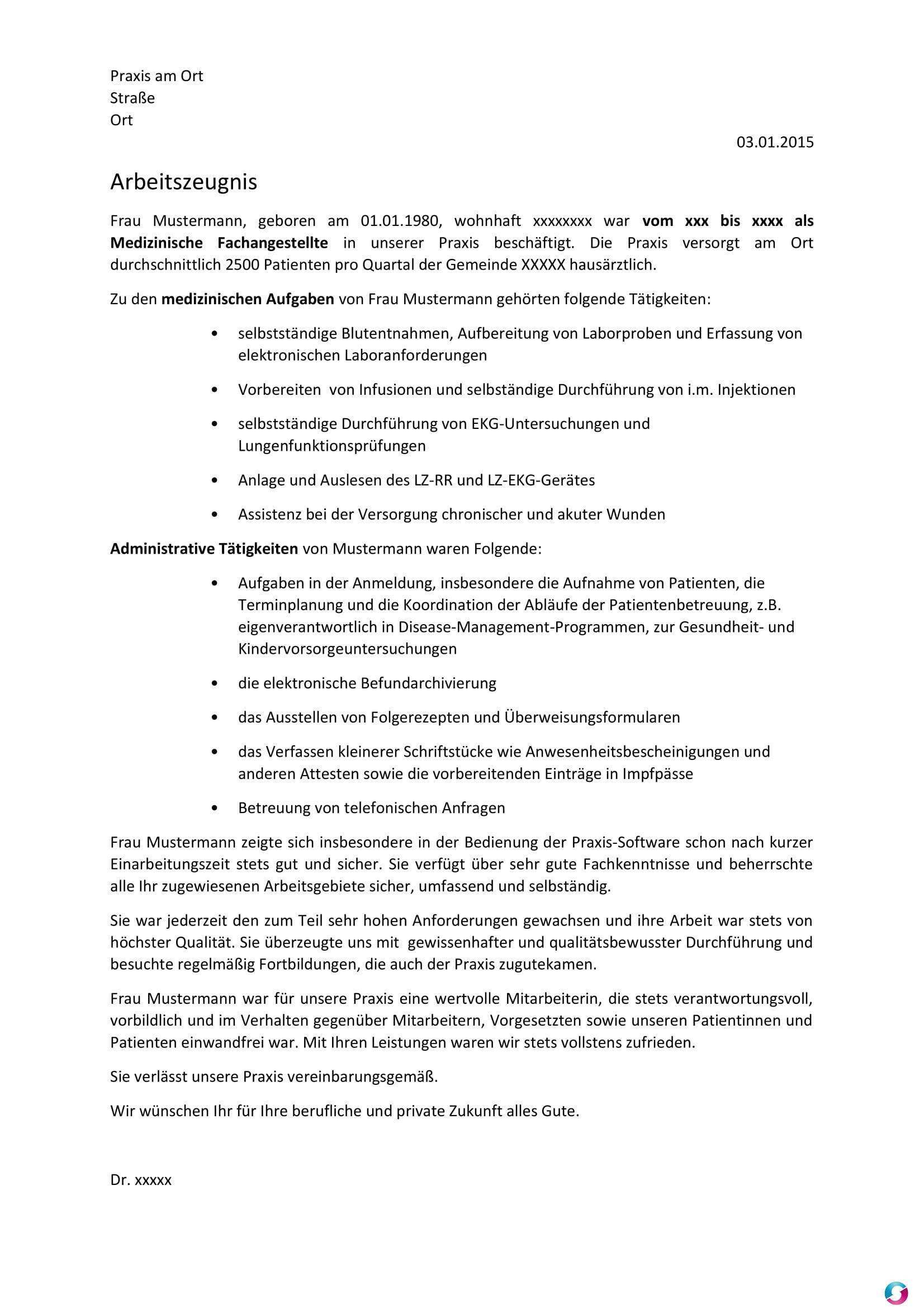 Arbeitszeugnis Medizinische Fachangestellte Mfa Fruher Arzthelferin Vorlage Kostenlose Vorlagen Arztpraxis Teramed